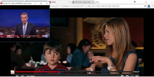 Watch a movie and PIP a news channel with YTV Clone and Google YouTube TV